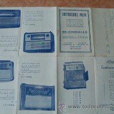 Radios antiguas: CATALOGO CARTA DESPLEGABLE CONSTRUCCIONES PRIETO,CONSTRUCCION DE MUEBLES Y CAJAS RADIO,AÑO 1949. Lote 30033154
