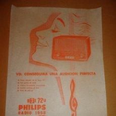 Radios antiguas: HOJA PUBLICIDAD DE RADIO PHILIPS B 3E 72U (1958). Lote 30053667