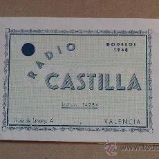 Radios antiguas: &CATALOGO COMERCIAL MUEBLES;RADIO-14,MODELOS.(RADIO CASTILLA).VALENCIA.. Lote 30281558
