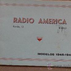 Radios antiguas: &CATALOGO COMERCIAL MUEBLES;RADIO-13,MODELOS.1945/6.(RADIO-AMERICA/POLAR).BILBAO/BARCELONA.. Lote 30281723