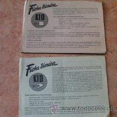 Radios antiguas: DOS FOLLETOS DE COMERCIAL RADIO BERTRAN DE BARCELONA,FICHA TECNICA KID Nº 1 Y KID Nº 2,AÑOS 40-50. Lote 30305138