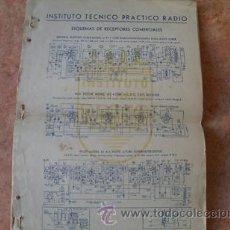 Radios antiguas: CUADERNO DE ESQUEMAS RECEPTORES-RADIOS COMERCIALES,INSTITUTO TECNICO PRACTICO-INTEPRA,AÑOS 40. Lote 30305849