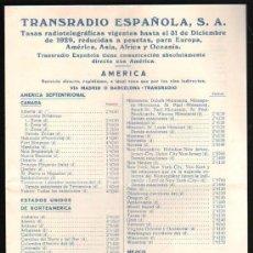 Radios antiguas: TRANSRADIO ESPAÑOLA,TASAS RADIOTELEGRÁFICAS VIGENTES HASTA 1929,AMERICA, EUROPA, AFRICA Y ASIA,4PÁGS. Lote 31065787