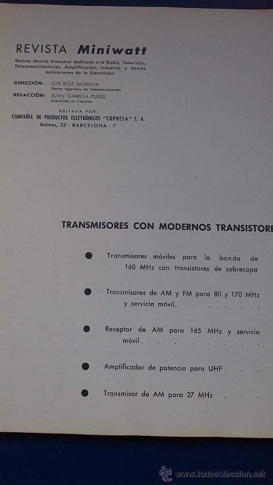 Radios antiguas: REVISTA MINUVATT TRANSMISORES CON MODERNOS TRANSISTORES-AÑO;61 - Foto 2 - 36811206