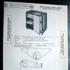 Radios antiguas: ELECTRONICA, DOCUMENTACION TECNICA RADIO TOCADISCOS ZENITH MOD. HFI290H - HFI290R - HFI292 - HFI292R. Lote 31713855