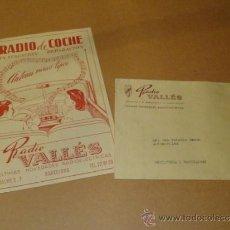 Radios antiguas: FOLLETO PUBLICIDAD RADIO DE COCHE VALLES . Lote 31736208