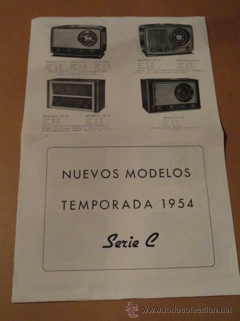 FOLLETO CATALOGO PUBLICIDAD RADIO (NUEVOS MODELOS DE RADIO TEMPORADA 1954 SERIE C ) (Radios, Gramófonos, Grabadoras y Otros - Catálogos, Publicidad y Libros de Radio)
