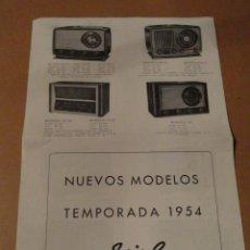 Radios antiguas: FOLLETO CATALOGO PUBLICIDAD RADIO (NUEVOS MODELOS DE RADIO TEMPORADA 1954 SERIE C ). Lote 31736563