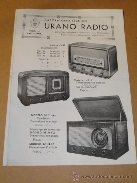 FOLLETO CATALOGO PUBLICIDAD RADIO , LABORATORIO TECNICO URANO RADIO (BARCELONA) (Radios, Gramófonos, Grabadoras y Otros - Catálogos, Publicidad y Libros de Radio)