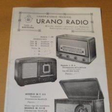 Radios antiguas: FOLLETO CATALOGO PUBLICIDAD RADIO , LABORATORIO TECNICO URANO RADIO (BARCELONA). Lote 31736707