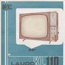 Radios antiguas: ELECTRONICA, HOJA PUBLICITARIA TELEVISOR LAUDO KL- DE COMERCIAL RADIO ELECTRICIDAD. Lote 107470964