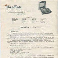 Radios antiguas: HOJA DE CARACTERISTICAS TOCADISCOS HERFOR MOD.PE-MUSICAL-132. Lote 31832102