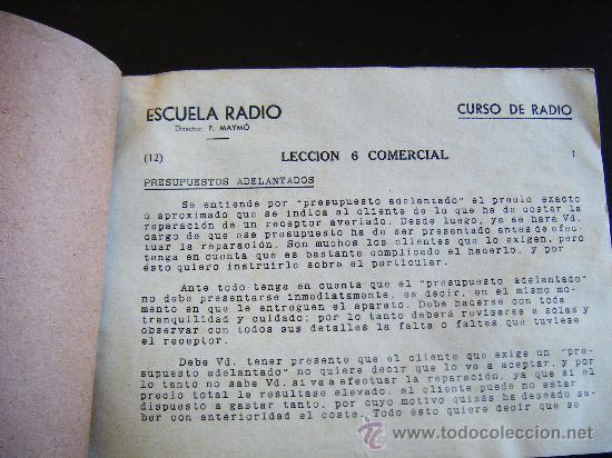 Radios antiguas: LECCIONES COMERCIALES ESCUELA RADIO PELAYO 3 BARCELONA. CURSO POR CORRESPONDENCIA FERNANDO MAYMO Nº6 - Foto 2 - 31878905