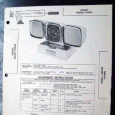 Radios antiguas: ELECTRONICA, DOCUMENTACION TECNICA RADIO RELOJ PHILCO MOD. T-1000. Lote 31883369