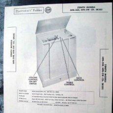 Radios antiguas: ELECTRONICA, DOCUMENTACION TECNICA TOCADISCOS ZENITH MOD. HFR20E Y HFR21R. Lote 31883688
