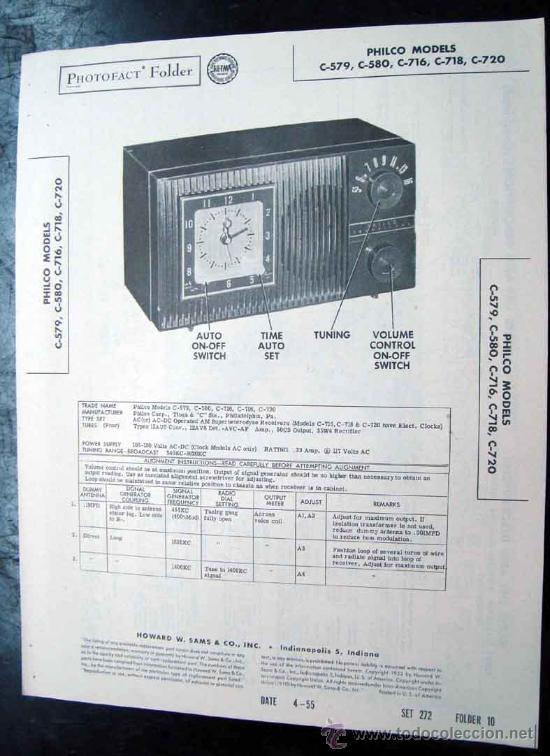 ELECTRONICA, DOCUMENTACION TECNICA RADIO RELOJ PHILCO MOD, C579 - C579 - C716 - C718 Y C720 (Radios, Gramófonos, Grabadoras y Otros - Catálogos, Publicidad y Libros de Radio)