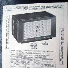 Radios antiguas: ELECTRONICA,DOCUMENTACION TECNICA RADIO PHILCO MOD. C570 , C583C, C584, C587, C710, C721, C722, C724. Lote 31883839