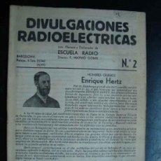 Radios antiguas: ELECTRONICA, CUADERNO NUM. 2 DIVULGACIONES RADIOLECTRICAS - ESCUELA RADIO MAYMO - AÑOS 50. Lote 31898296