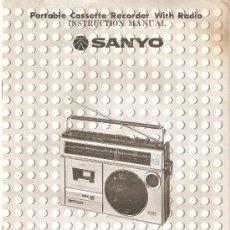 Radios antiguas: MANUAL INSTRUCCIONES RADIO CASETE SANYO MODELO M 2429F. Lote 31943947