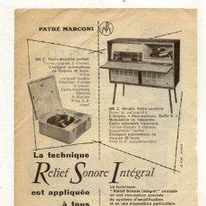 Radios antiguas: RECORTE PUBLICIDAD // RADIO - TOCADISCOS. Lote 32510106
