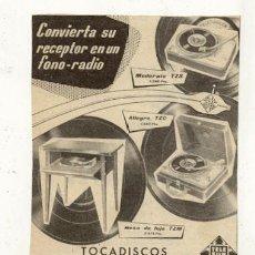 Radios antiguas: RECORTE PUBLICIDAD // TOCADISCOS TELEFUNKEN . Lote 32510116