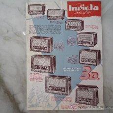 Radios antiguas: CATÁLOGO PUBLICIDAD AÑOS '50 *INVICTA RADIO* 24 MODELOS: RADIOS AMPLIFICADORES TOCADISCOS FONOCHASIS. Lote 32897619