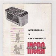 Radios antiguas: MAGNETOFON INGRA INSTRUCCIONES DE USO. Lote 34339332