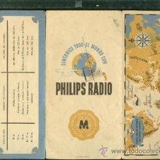 Radios antiguas: CATÁLOGO PUBLICITARIO TRÍPTICO,PHILIPS RADIO,LISTA DE EMISORAS DE ONDA CORTA,BUENA RECEPCIÓN. Lote 204662947