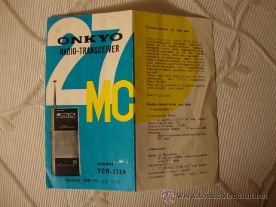 Radios antiguas: ANTIGUO CATALOGO DESPLEGABLE DE RADIO ONKYO - Foto 2 - 35410123
