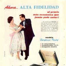 Radios antiguas: PÁGINA PUBLICIDAD ORIGINAL *TOCADISCOS KOLSTER · MODELO SURPRISE PARTY* AGENCIA PUBLICRUZ - AÑO 1959. Lote 36398085