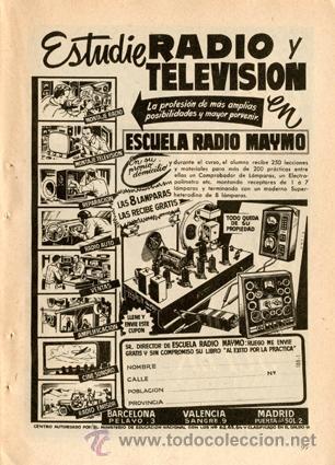 PÁGINA PUBLICIDAD ORIGINAL *ESCUELA RADIO MAYMO. ESTUDIE RADIO Y TELEVISIÓN* -- VINTAGE -- AÑO 1959 (Radios, Gramófonos, Grabadoras y Otros - Catálogos, Publicidad y Libros de Radio)