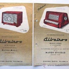 Radios antiguas: PUBLICIDAD / ELECTRO RADIO VALENCIA / INTERCOMUNICADOR ALBATROS / AÑO 1956 / 2 HOJAS COMERCIALES. Lote 37284860