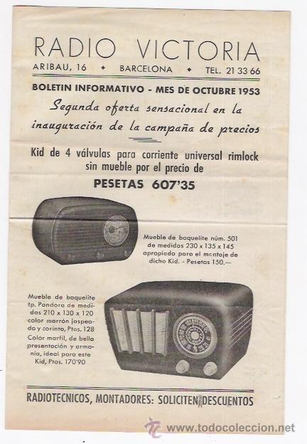 RADIO VICTORIA -BOLETIN INFORMATIVO DE OCTUBRE DE 1953 (Radios, Gramófonos, Grabadoras y Otros - Catálogos, Publicidad y Libros de Radio)