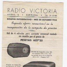 Radios antiguas: RADIO VICTORIA -BOLETIN INFORMATIVO DE OCTUBRE DE 1953. Lote 37484902