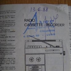 Radios antiguas: MANUAL DE INSTRUCCIONES RADIO CASSETTE RECORDER. INSTRUCTION MANUAL. EN INGLÉS.. Lote 38324444