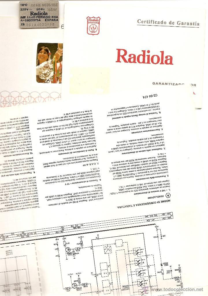LOTE MANUAL EMPLEO TELEVISOR RADIOLA 66 KE 6625 + GARANTÍA + PLANO CIRCUITOS EN ITALIANO (Radios, Gramófonos, Grabadoras y Otros - Catálogos, Publicidad y Libros de Radio)