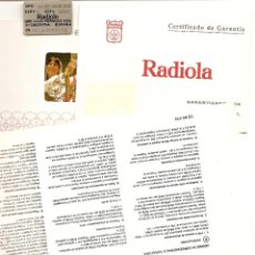 Radios antiguas: LOTE MANUAL EMPLEO TELEVISOR RADIOLA 66 KE 6625 + GARANTÍA + PLANO CIRCUITOS EN ITALIANO . Lote 40018438