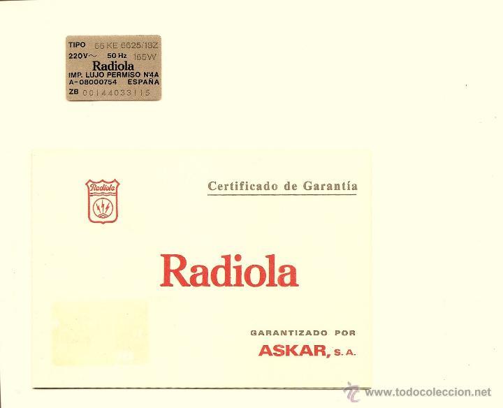Radios antiguas: LOTE MANUAL EMPLEO TELEVISOR RADIOLA 66 KE 6625 + GARANTÍA + PLANO CIRCUITOS EN ITALIANO - Foto 2 - 40018438