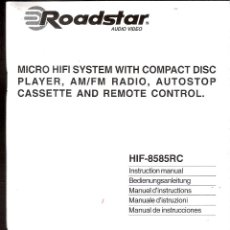 Radios antiguas: ROADSTAR. SISTEMA MICRO HIFI.LECTOR CD,RADIO AM/FM-ESTEREO.CASETE AUTOSTOP.TELEMANDO.MANUAL INSTRUCC. Lote 40458429