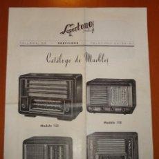 Radios antiguas: FOLLETO CATALOGO MUEBLES PARA RADIO SUPERTONO (BARCELONA). Lote 41013837