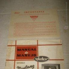 Radios antiguas: ANTIGUO MANUAL DE MANEJO DE RADIO INTER INTENCIONAL RADIO TELEVISIÓN S.A. MODELO MUSTANG - AÑO 1950S. Lote 41967628