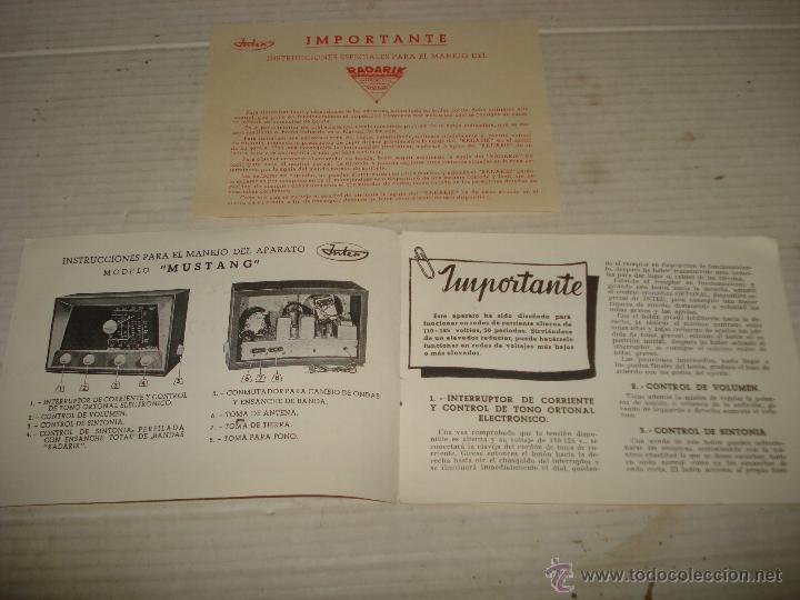 Radios antiguas: Antiguo Manual de Manejo de Radio INTER Intencional Radio Televisión S.A. Modelo Mustang - Año 1950s - Foto 2 - 41967628