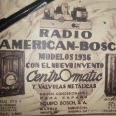 Radios antiguas: PUBLICIDAD DE HORNYPHON, RADIO SABA Y RADIO AMERICAN BOSCH. MODELOS PARA 1936.. Lote 42026769