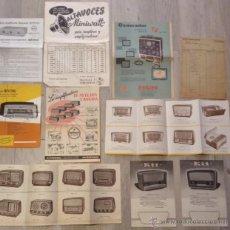 Radios antiguas: LOTE CATALOGO PUBLICIDAD FOLLETO RADIOS Y AMPLIFICADORES FORTUNY PHILIPS OPTIMUS AÑOS 40 ?. Lote 42732362