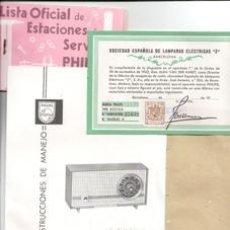 Radios antiguas: INTRUCCIONES, CERTIFICADO CON TIMBRE Y DOCUMENTACIÓN RADIO B2E14A. Lote 43456800