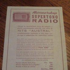 Radios antiguas: FOLLETO CATALOGO RADIO SUPERTONO KITS AUSTRAL. Lote 43515522