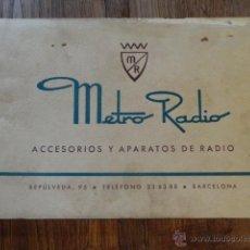Radios antiguas: FOLLETO CATALOGO RADIO METRO, ACCESORIOS Y APARATOS DE RADIOS 1951. Lote 43515827