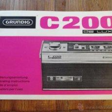 Radios antiguas: FOLLETO CATALOGO RADIO TRANSISTOR GRUNDIG C200 DE LUXE RADIO CASSETTE. Lote 43516786