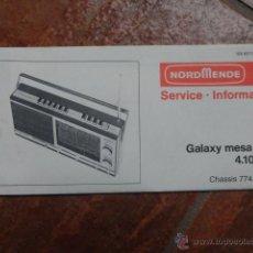 Radios antiguas: FOLLETO CATALOGO RADIO TRANSISTOR NORD MENDE GALAXY MESA 6606 4.102A/E . Lote 43520287
