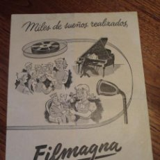 Radios antiguas: FOLLETO CATALOGO TOCADISCOS MAGNETOFONO FILMAGNA. Lote 43520421